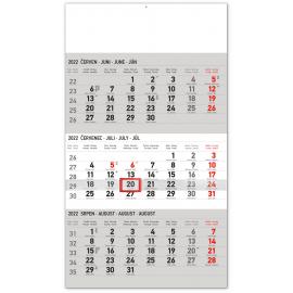 Nástěnný kalendář 3měsíční standard šedý – s českými jmény 2022, 29,5 × 43 cm