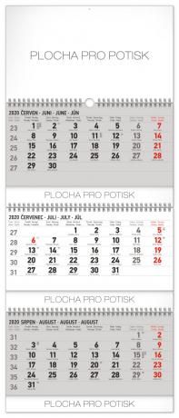 Nástěnný kalendář 3měsíční standard skládací CZ 2020, 29,5 × 72 cm