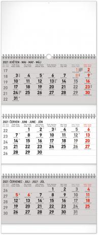 Nástěnný kalendář 3měsíční standard skládací CZ 2021, 29,5 × 72 cm