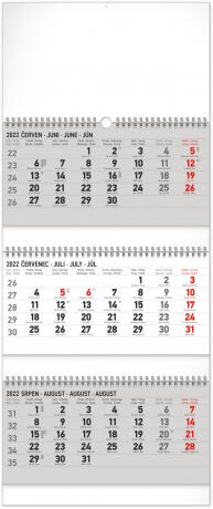 Nástěnný kalendář 3měsíční standard skládací CZ 2022, 29,5 × 69,5 cm