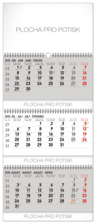 Nástěnný kalendář 3měsíční standard skládací SK 2020, 29,5 × 72 cm