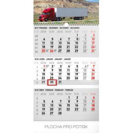 Nástěnný kalendář 3měsíční truck šedý – s českými jmény 2018, 29,5 x 43 cm