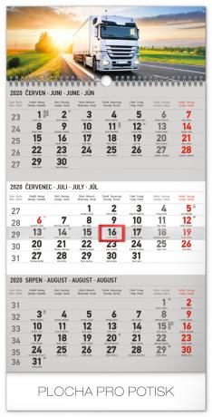 Nástěnný kalendář 3měsíční truck šedý – s českými jmény 2020, 29,5 × 43 cm
