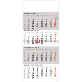 Nástěnný kalendář 4měsíční standard 2022, 29,5 × 57 cm