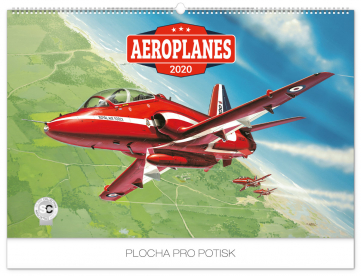 Nástěnný kalendář Aeroplanes – Jaroslav Velc 2020, 62 × 42 cm