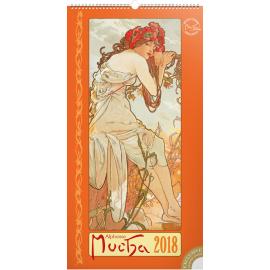 Wall calendar Alphonse Mucha 2018, 33 x 64 cm