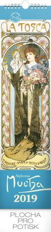 Nástěnný kalendář Alfons Mucha 2019, 12 x 48 cm