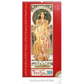 Wall calendar Alphonse Mucha 2019, 33 x 64 cm