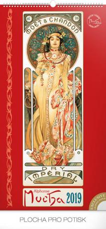 Nástěnný kalendář Alfons Mucha 2019, 33 x 64 cm