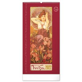 Wall calendar Alphonse Mucha 2022, 33 × 64 cm