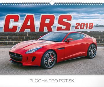 Nástěnný kalendář Auta 2019, 48 x 33 cm