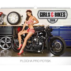 Nástěnný kalendář Girls & Bikes – Jim Gianatsis 2019, 48 x 33 cm