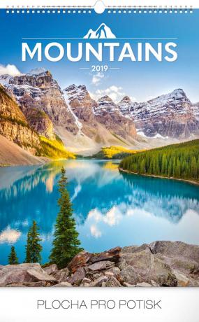 Nástěnný kalendář Hory 2019, 33 x 46 cm