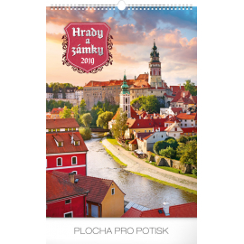 Nástěnný kalendář Hrady a Zámky 2019, 33 x 46 cm