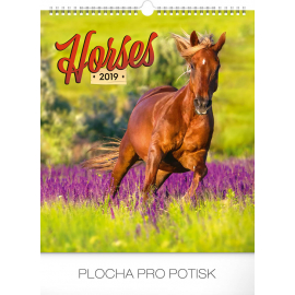 Nástěnný kalendář Koně 2019, 30 x 34 cm