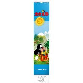 Nástěnný kalendář Krteček 2018, s pohlednicemi, 10,5 x 48 cm