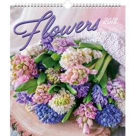 Nástěnný kalendář Květiny 2018, 30 x 34 cm
