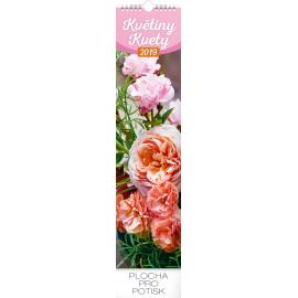 Nástěnný kalendář Květiny – Kvety 2019, 12 x 48 cm