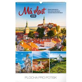 Nástěnný kalendář Má vlast 2019, 33 x 46 cm