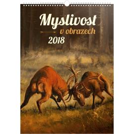 Nástěnný kalendář Myslivost v obrazech 2018, 33 x 46 cm