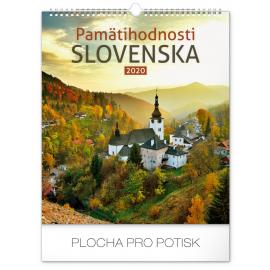 Wall calendar Pamätihodnosti Slovenska SK 2020, 30 × 34 cm