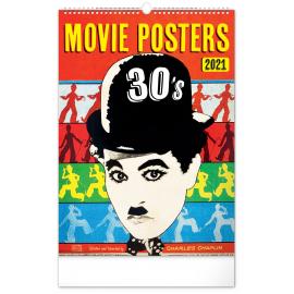 Nástěnný kalendář Retro plakáty 2021, 33 × 46 cm