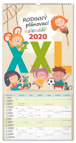 Nástěnný kalendář Rodinný plánovací XXL 2020, 33 × 64 cm