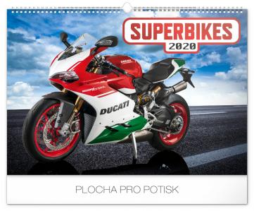 Nástěnný kalendář Superbikes 2020, 48 × 33 cm