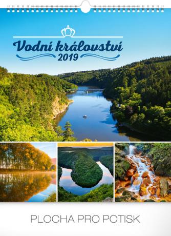 Nástěnný kalendář Vodní království 2019, 30 x 34 cm