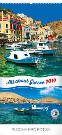 Nástěnný kalendář Zaostřeno na Řecko 2019, 33 x 64 cm