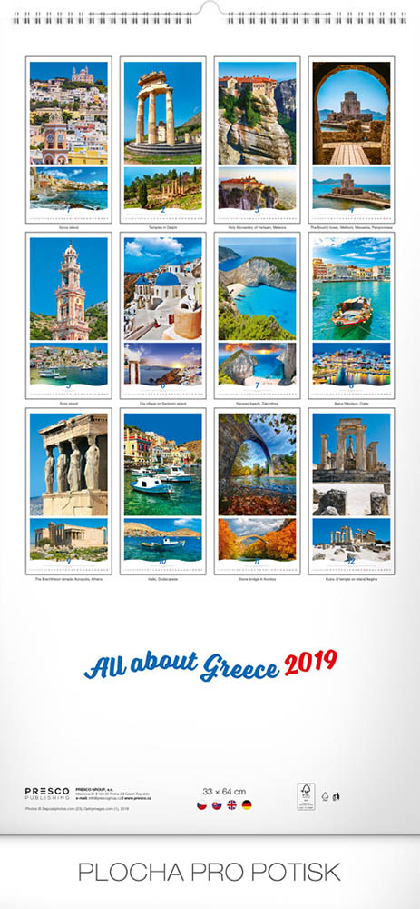 wall calendar all about greece 2019 33 x 64 cm