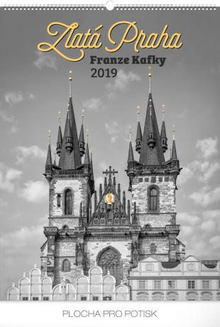Nástěnný kalendář Zlatá Praha Franze Kafky 2019, 48 x 64 cm