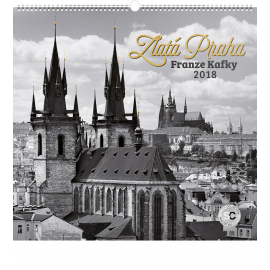 Nástěnný kalendář Zlatá Praha Franze Kafky – Jakub Kasl 2018, 48 x 46 cm