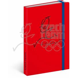 Notes Český olympijský tým, červený, linkovaný, 13 x 21 cm