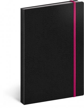 Notes Tucson černý/růžový, linkovaný, 13 x 21 cm
