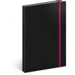 Notes Tucson černý/růžový, linkovaný, 13 × 21 cm