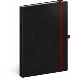 Notebook Vivella Classic black/red, lined, 15 × 21 cm