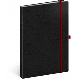 Notes Vivella Classic černý/červený, linkovaný, 15 × 21 cm