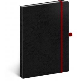 Notes Vivella Classic černý/červený, tečkovaný, 15 × 21 cm