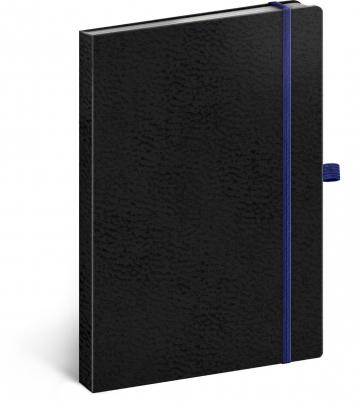 Notes Vivella Classic černý/modrý, tečkovaný, 15 × 21 cm
