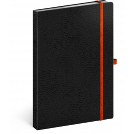 Notebook Vivella Classic black/orange, lined, 15 × 21 cm