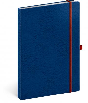 Notes Vivella Classic modrý/červený, linkovaný, 15 × 21 cm