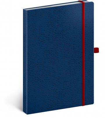 Notes Vivella Classic modrý/červený, tečkovaný, 15 × 21 cm