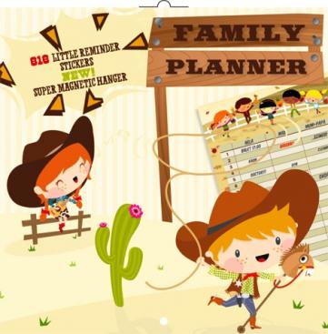 Plánovací kalendář Cowboys, nedatovaný, 30 x 30 cm
