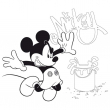 Grid calendar Mickey Mouse, DYI: Undated Colouring Calendar with crayons, 30 x 30 cm