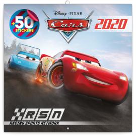 Poznámkový kalendář Auta 3 2020, s 50 samolepkami, 30 × 30 cm
