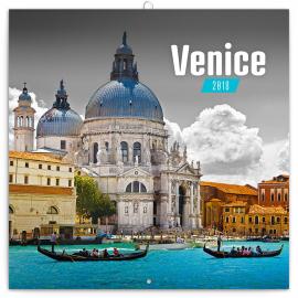Poznámkový kalendář Benátky 2018, 30 x 30 cm
