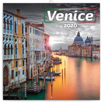 Poznámkový kalendář Benátky 2020, 30 × 30 cm