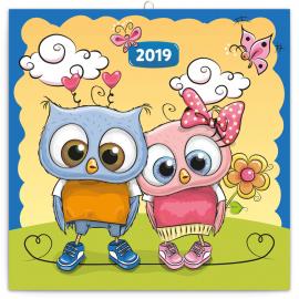 Poznámkový kalendář Chytrá soví rodinka 2019, 30 x 30 cm
