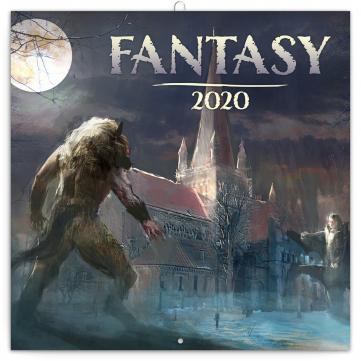 Poznámkový kalendář Fantasy 2020, 30 × 30 cm